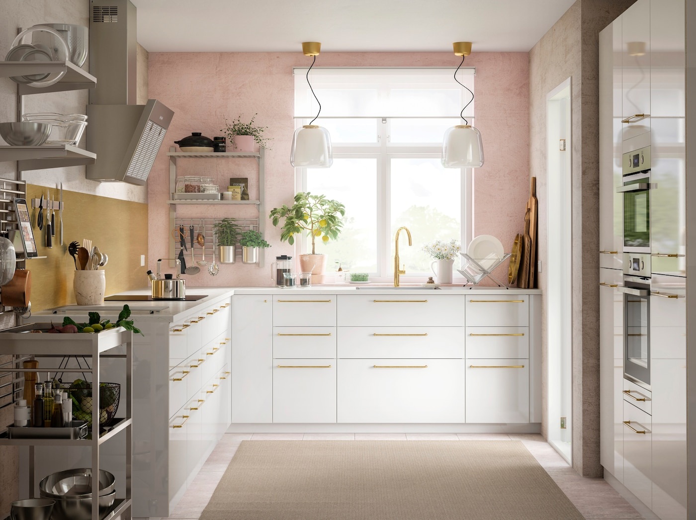 Серия рейлингов и полок КУНГСФОРС — это решение для открытого хранения на кухне, где не получается разместить много навесных шкафов.