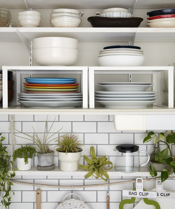 Serveware stacked on shelves and shelf inserts  and a row of pot plants on a shelf below.