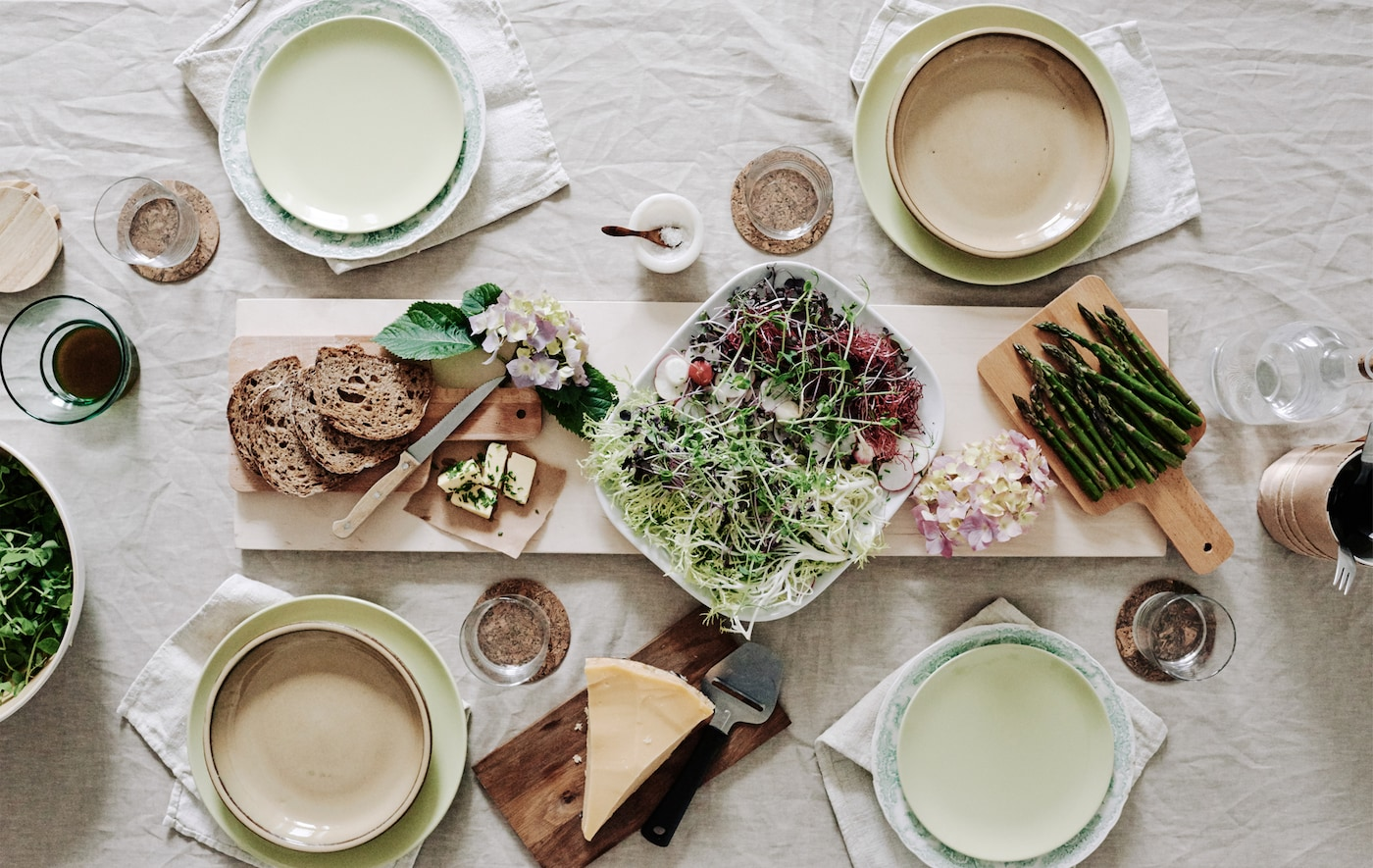 Set the table for a picnic-style lunch.