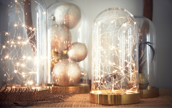 Several decorative glass domes filled with battery powered light chains, baubles and a plant.