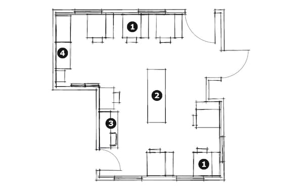 Sewing classroom floor plan layout