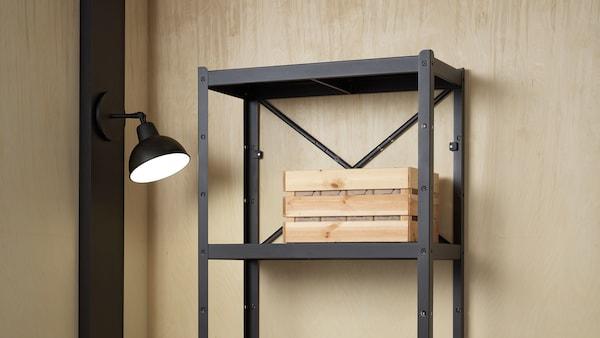 Shelving unit 85x40x190 cm black