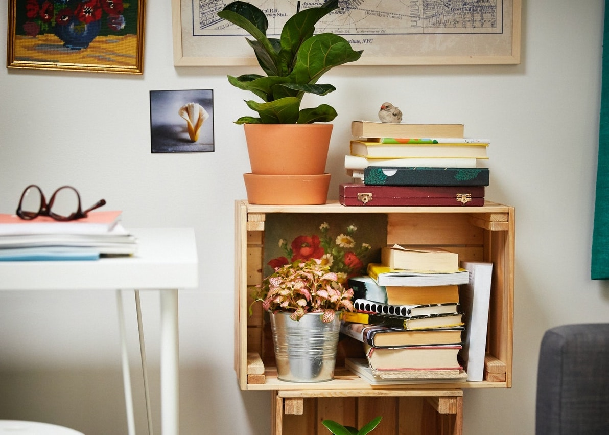 Shelving unit made with re-used boxes