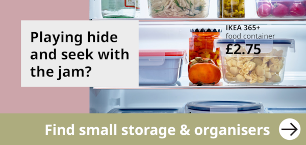 showing inside a organised fridge using IKEA 365+ food containers.