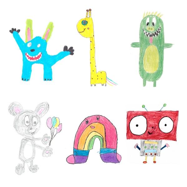 Six colorful children's drawings of imaginary creatures.