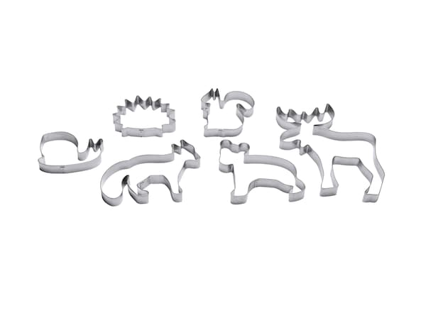 Six emporte-pièces argentés en forme d'animaux.