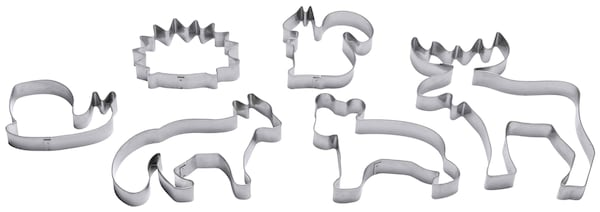 Six silver animal-shaped pastry cutters.