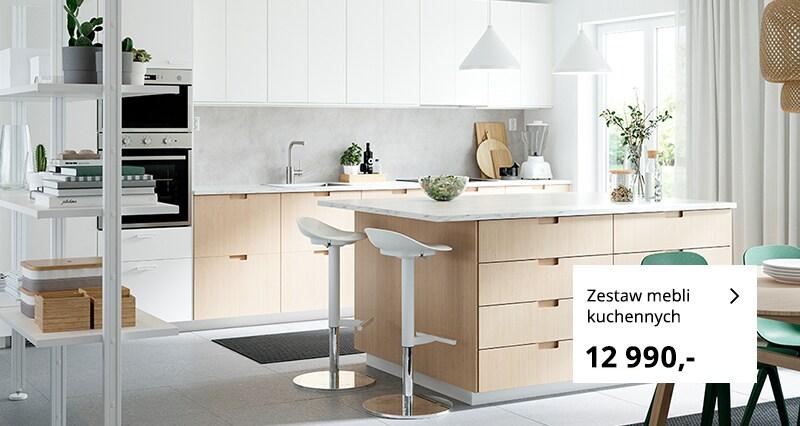 Skandynawska, prosta kuchnia dwukolorowa z szufladami