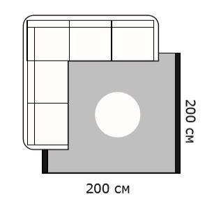 Схема диван угловой и ковер 200х200