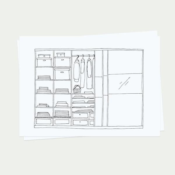 Skica návrhu pre šatníkovú skriňu.