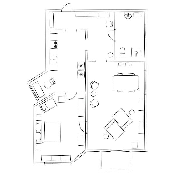 Skisse av en leilighet med ett soverom og kombinert stue og spisestue.