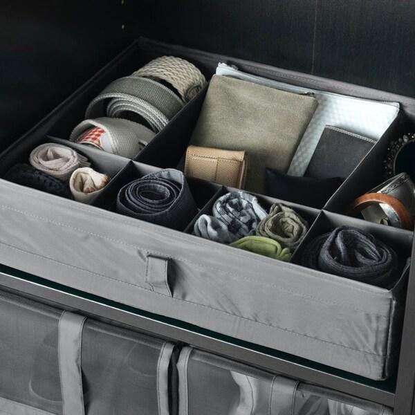 SKUBB Boîte compartimentée, gris foncé.