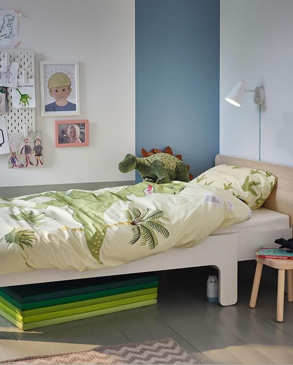 SLÄKT Rozsuwana rama łóżka, biały/brzoza80x200 cm