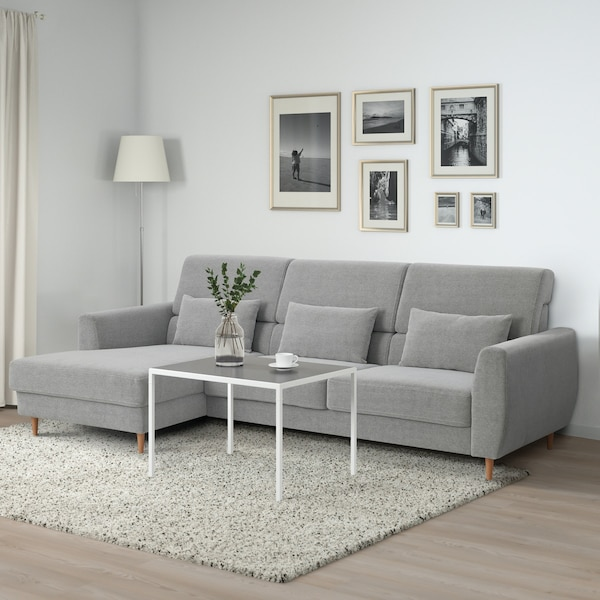 SLATORP 3-zitsbank, met chaise longue, links, Tallmyra wit/zwart