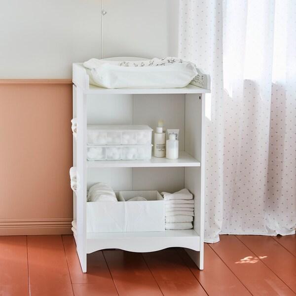SMÅGÖRA table à langer/bibliothèque avec étagère, blanc