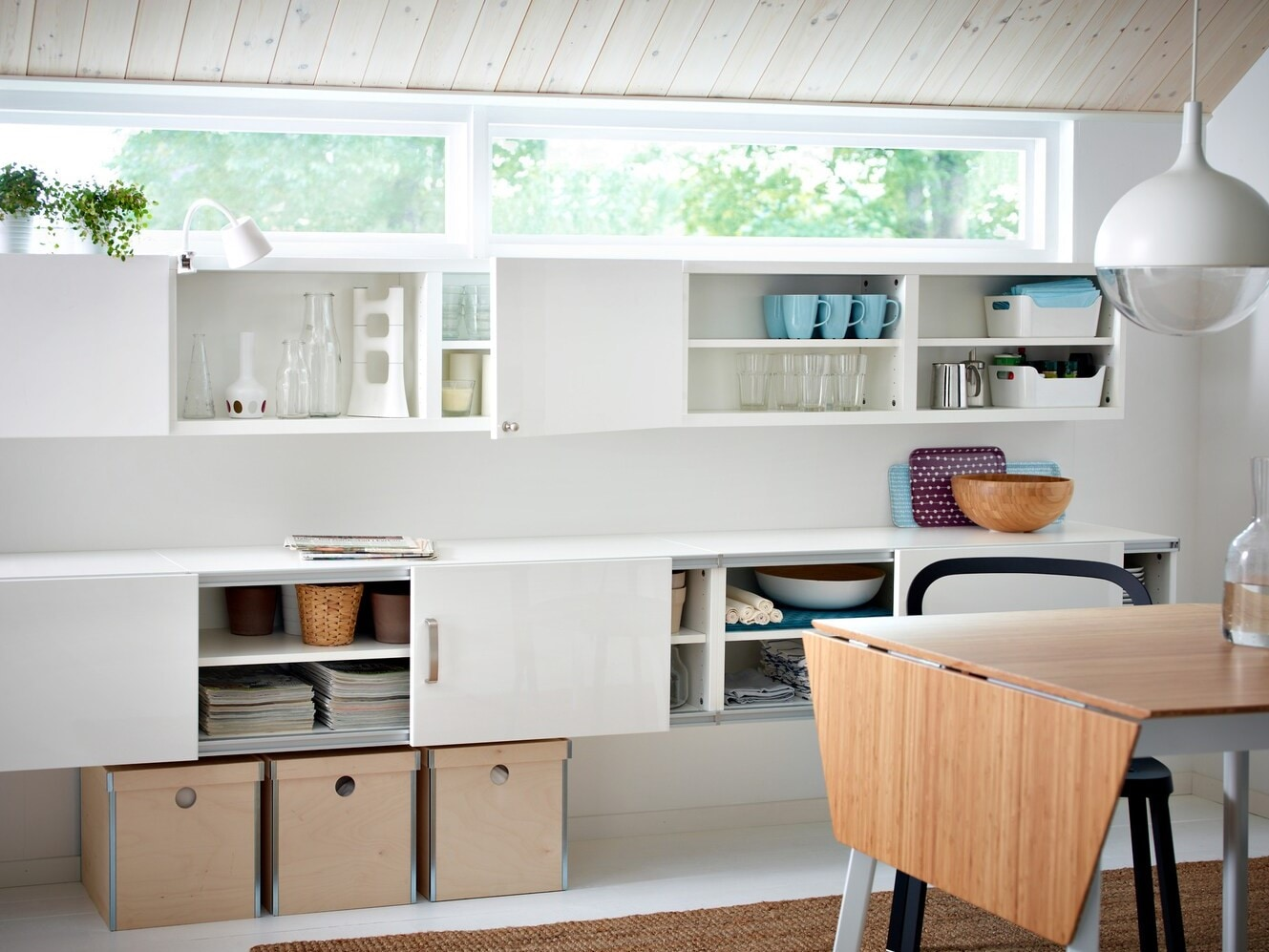 Small living room in pale tones