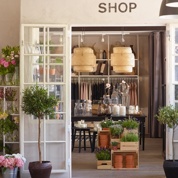 Small rustic boutique selling flowers, homewares and clothing.