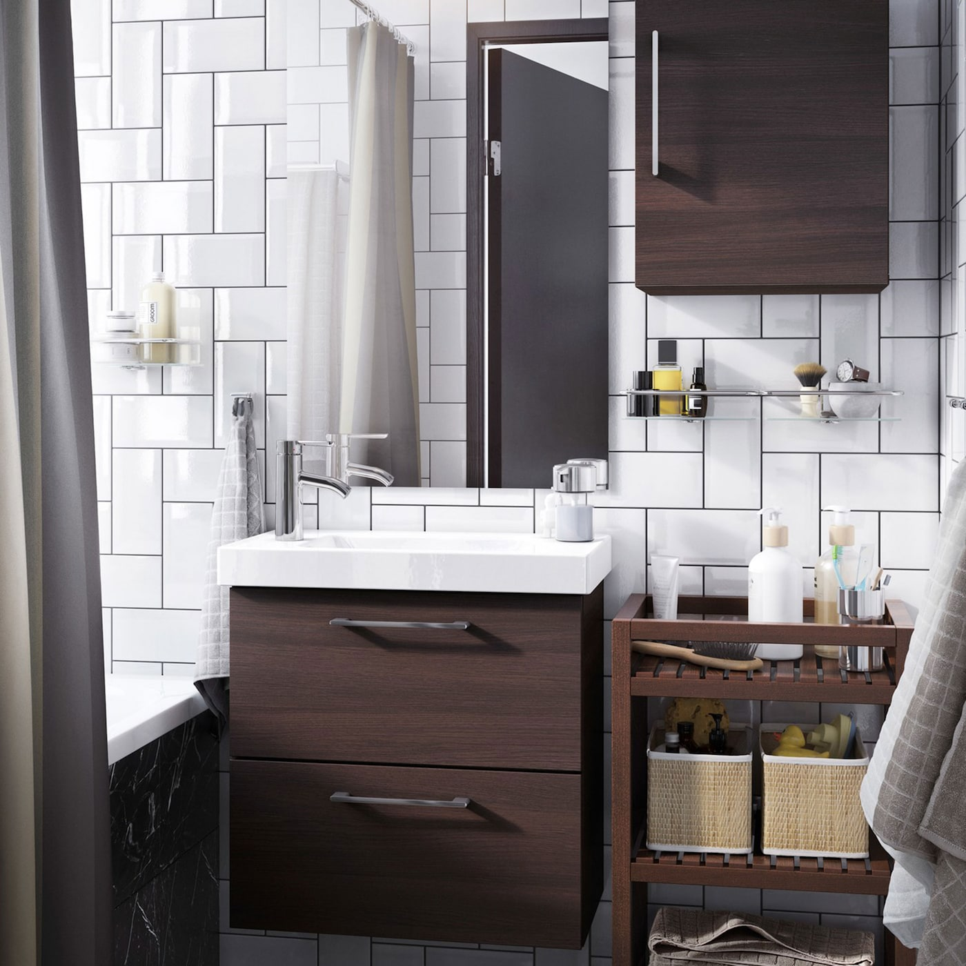 Small white bathroom with dark brown open and closed storage.
