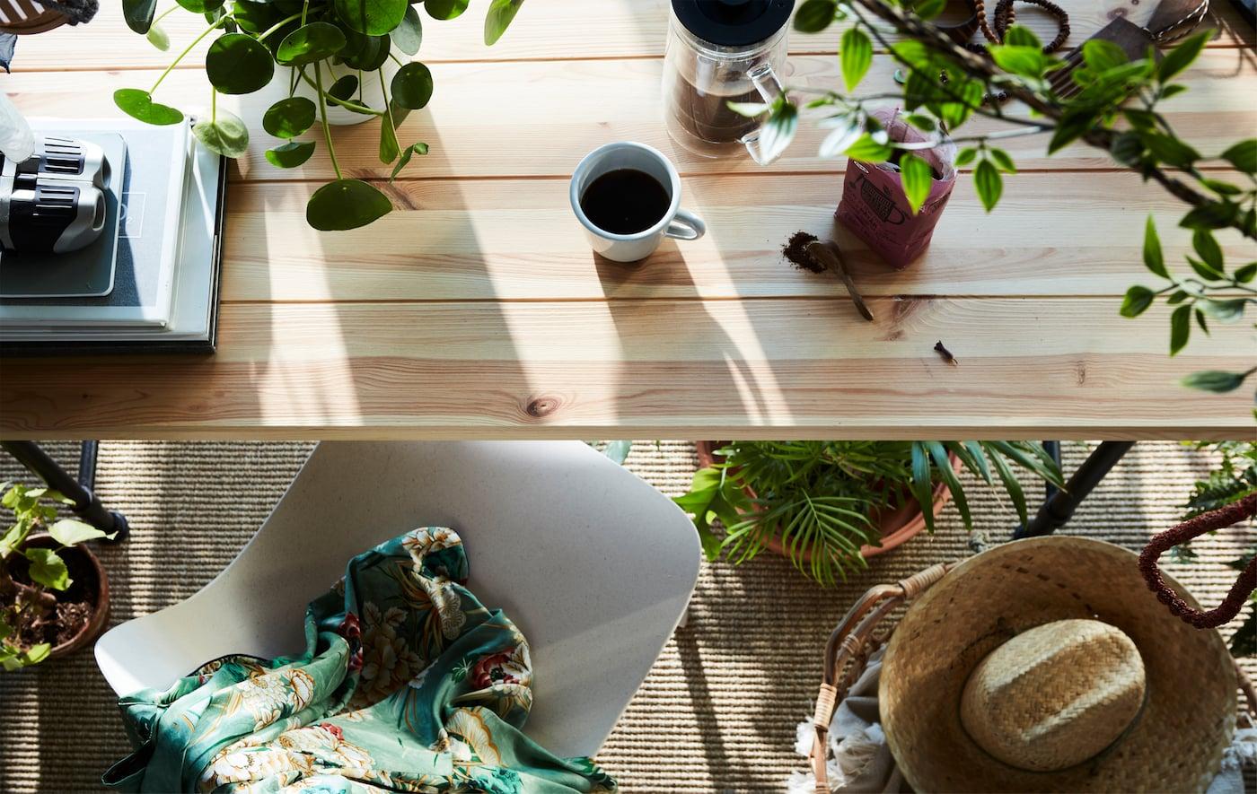 Snídaňový stůl, spousta zeleně. Čerstvé i umělé květiny FEJKA