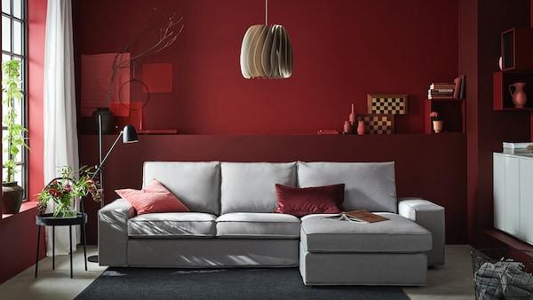 Sofa 3-osobowa, Orrsta z szezlongiem, Orrsta jasnoszary