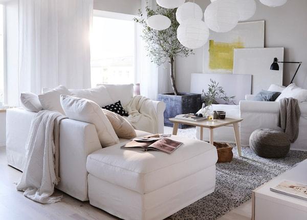Sofá GRÖNLID em branco com chaise longue