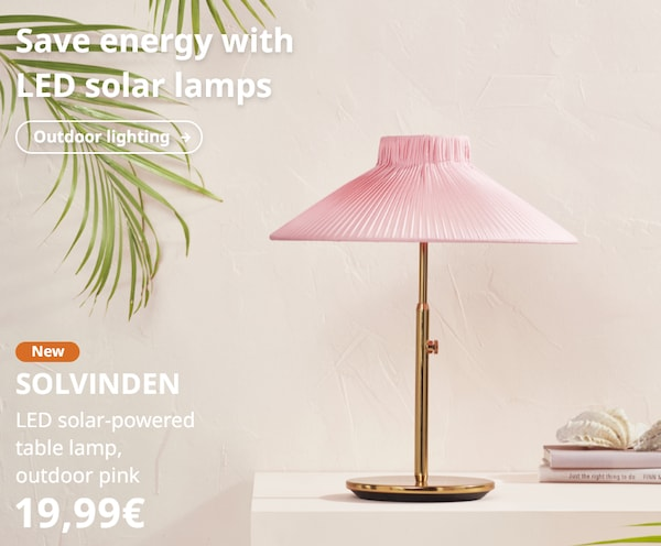 SOLVINDEN LED solar-powered table lamp, outdoor pink