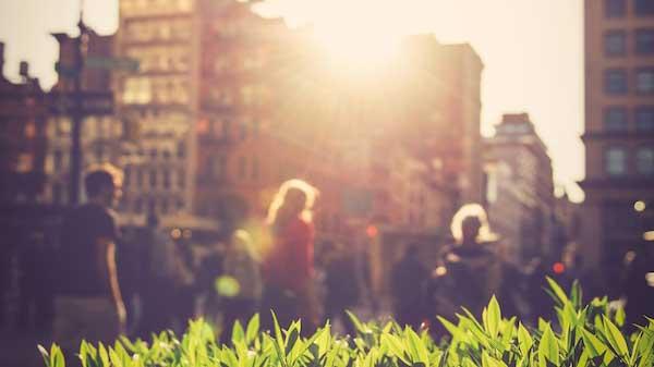 Sonnenlicht scheint zwischen ein paar Gebäuden hindurch auf eine Wiese. Im Hintergrund laufen Menschen vorbei.