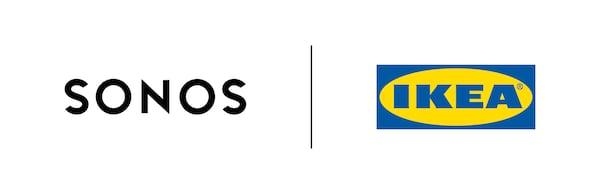 Sonos-logo ja IKEA-logo vierekkäin edustavat yhteistyötä uuden SYMFONISK-malliston taustalla.