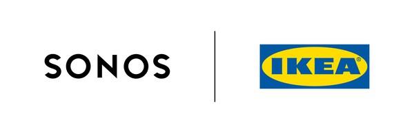Sonos-logo og IKEA logo som symbol på samarbejdet med at udvikle SYMFONISK – et helt ny lydserie.