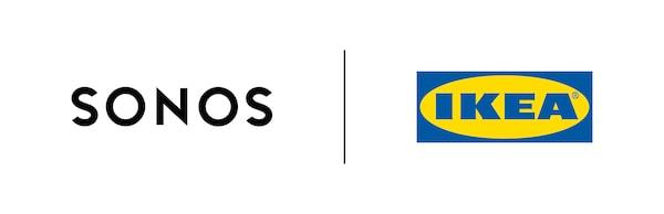 Sonosのロゴとイケアのロゴが縦棒で区切られて並ぶ、Sonosとイケアの共同ブランドのロゴ。