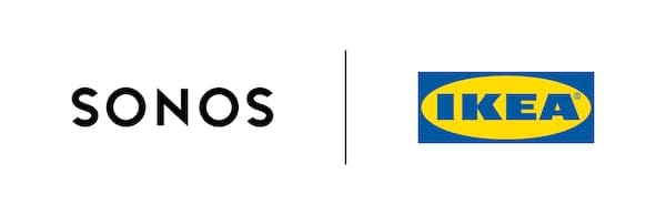Sonosとイケアのロゴ。新登場のサウドシリーズ、SYMFONISK/シンフォニスクをつくり出したコラボレーションを表しています。
