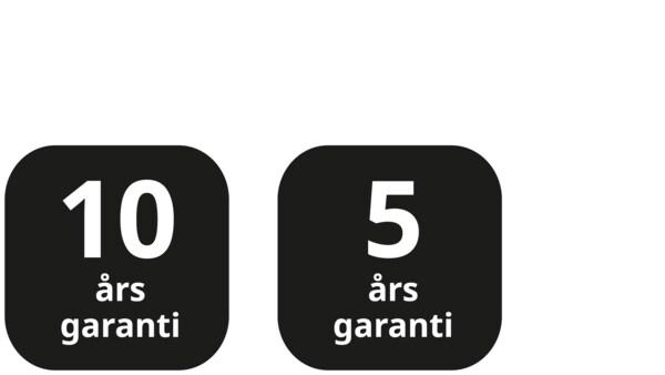 Sorte ikoner med 10 og 5 års garanti.
