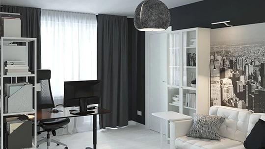 Создайте современную рабочую зону в гостиной с помощью современной офисной мебели. Пусть кресло впишется в окружающий интерьер — просто накиньте на него зеленый плед. В магазинах ИКЕА вы найдете широкий выбор вращающихся офисных стульев