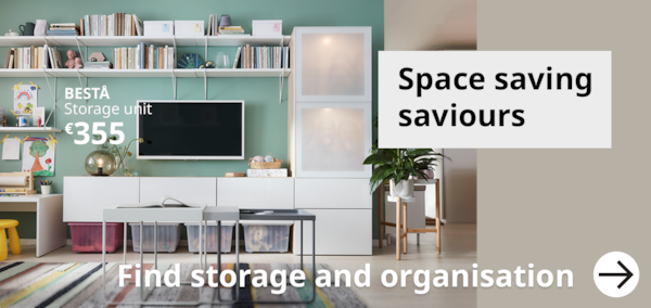 Space saving saviours for everyone. A living room setting with white BESTA units showing a TV and storage solutions.