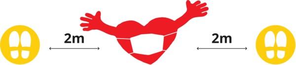 Srdce Ikea v maske ukazujúci bezpečnú vzdialenosť 2 metrov medzi značkami.