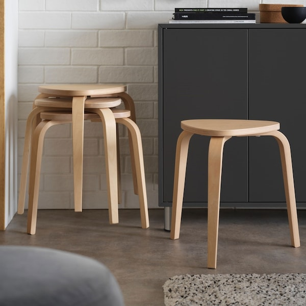Stacked birch KYRRE stools