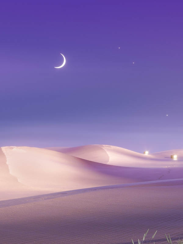 Stars and a crescent moon in a violetcoloured night sky above sand dunes in a desert landscape.