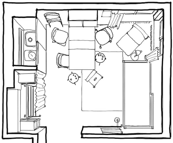 Start planning out your space by using a floor plan of the room.
