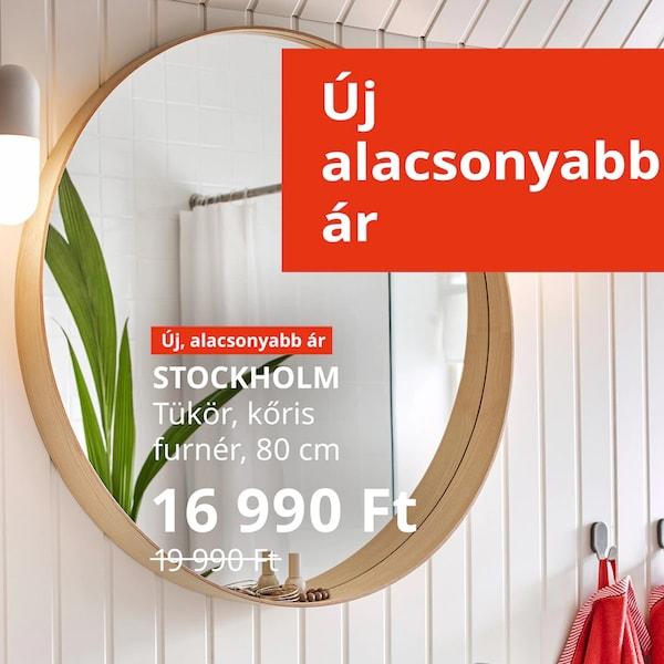 """STOCKHOLM  tükör egy mosdó felett, felette """"Új alacsonyabb ár"""" felirat és az ár: 16 990 Ft."""