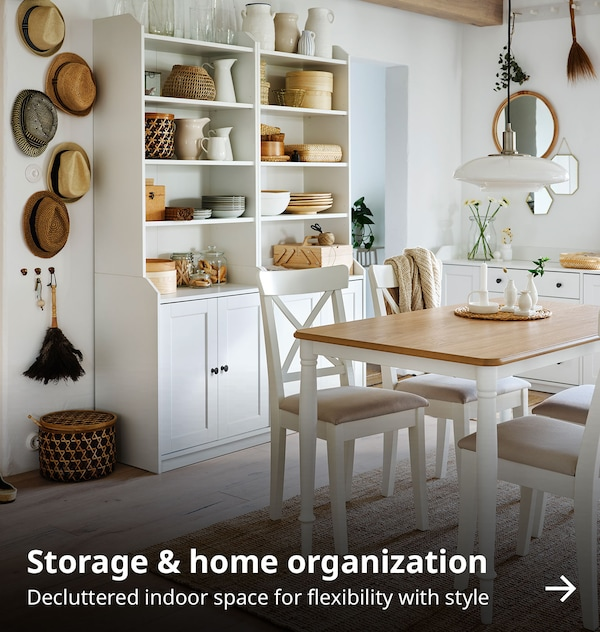 Storage & home organization. Decluttered indoor space for flexibility with style