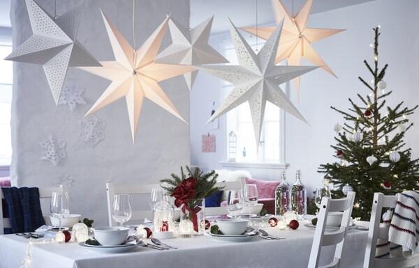 STRÅLA Pantalla para lámpara de techo, encaje blanco, 100 cm