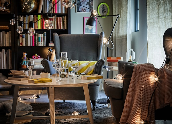 String lights can create an effortless, festive feeling, so don't be afraid to use them indoors.