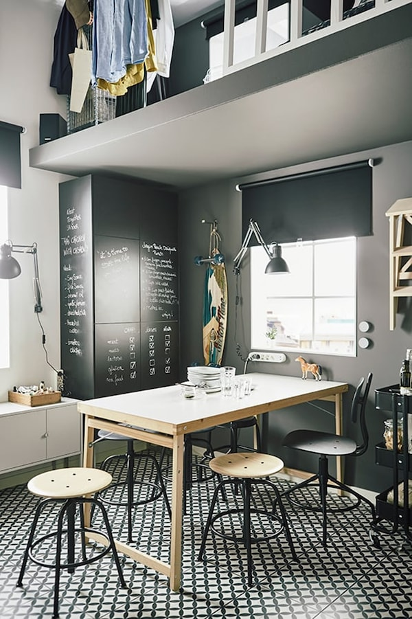 Studio apartment — 15 m2 — tips for living small — KULLABERG office chair — IKEA interior inspiration