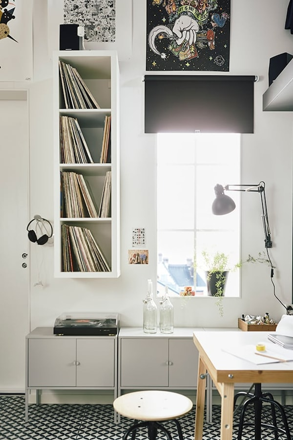 Studio apartment — 15 m2 — tips for living small — LIXHULT cabinet — IKEA interior inspiration