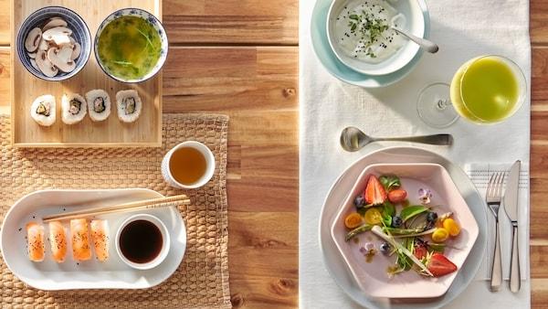 Stůl prostřený dvěma způsoby, jeden na sushi s bílým oválným talířem, druhý na salát s bílým ubrusem a růžovým šestiúhelníkovým talířem.