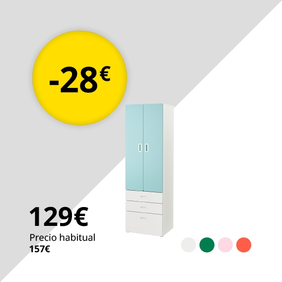 STUVA / FRITIDS Armario, blanco, azul claro, 60x50x192 cm