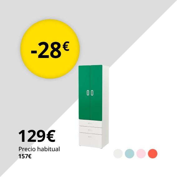 STUVA / FRITIDS Armario, blanco, verde, 60x50x192 cm
