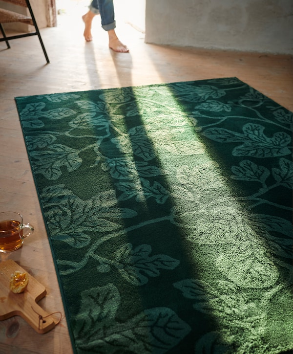Sun shines through an open door onto a green leaf-patterned rug.