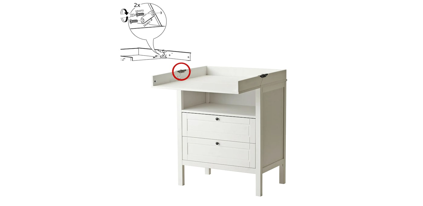 SUNDVIK changing table/chest with red circle highlighting the locking fitting that should be used at all times