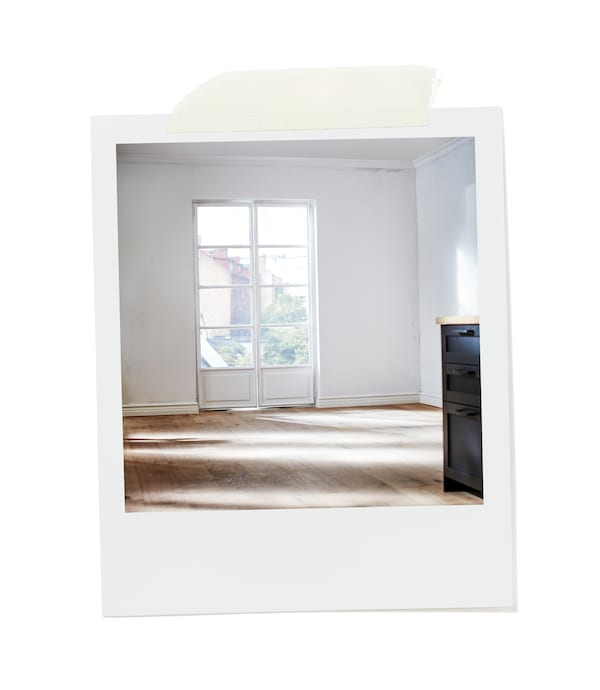 Sunlit, empty room with wooden floor and white walls, a two-door French window opening onto a garden.
